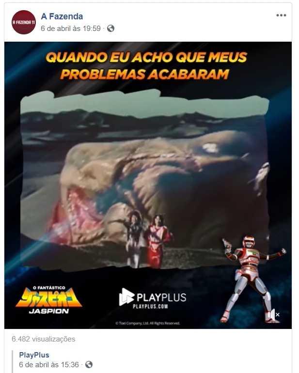 Playplus divulga Jaspion no facebook de A Fazenda