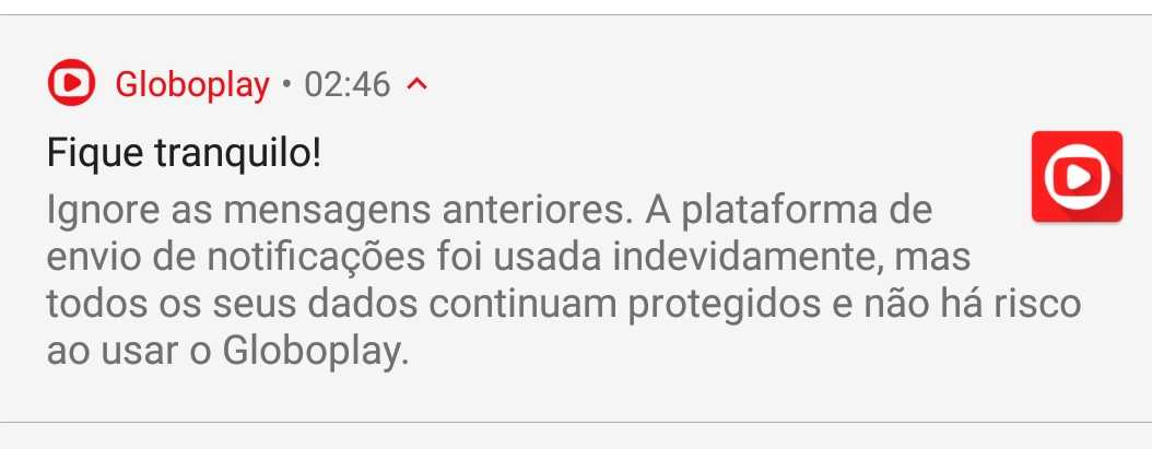 Notificação do GloboPlay após ação de Hackers