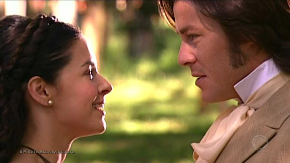 Bianca Rinaldi e Theo Becker em cena final da novela A Escrava Isaura