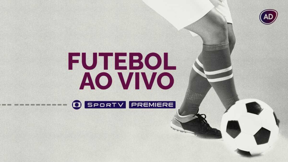 """Arte com os logos da Globo, SporTV e Premiere, além dos caracteres escritos """"Futebol Ao Vivo'"""