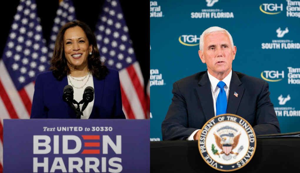 Candidatos a vice-presidência dos Estados Unidos, Kamala Harris e Mike Pence, respectivamente