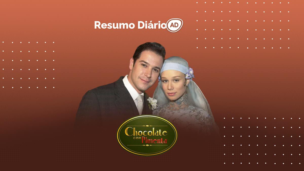 Logo do resumo diário da novela Chocolate com Pimenta