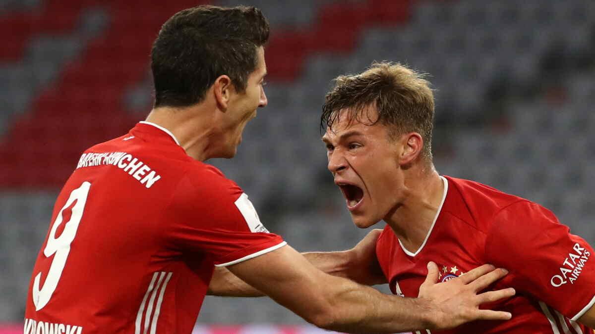 Lewandowski e Kimmich comemorando gol pelo Bayern de Munique