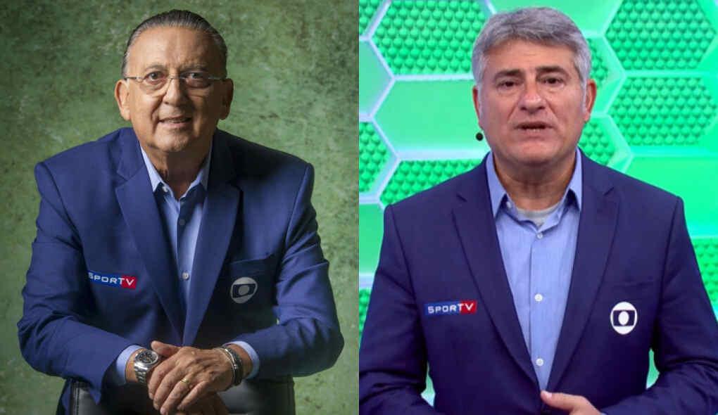 Galvão Bueno e Cléber Machado em uma montagem